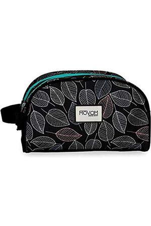 MOVOM Reisetaschen - Leaves Anpassungsfähiger Vanity Case mit zwei Fächern Schwarz 26x16x11 cms Polyester