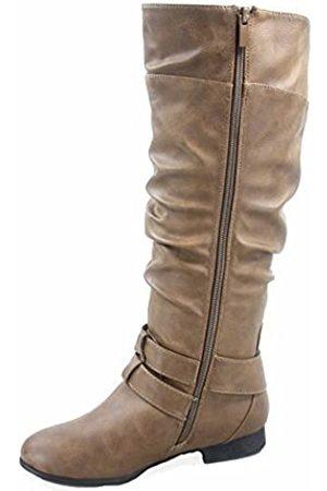 Top Moda Coco-20 Damen-Reitstiefel, runder Zehenbereich, niedriger Absatz, kniehoch, Reißverschluss, Braun (Conac)