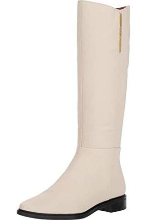 Calvin Klein Damen Francine Kniehoher Stiefel, Weiches, weißes Nappaleder