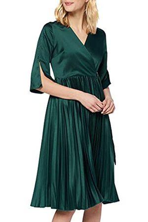 Mela Damen London-WRAP Front Pleated Skirt MIDI Dress Lssiges Kleid