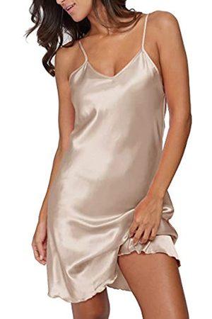 Giova Damen Satin Lange Dessous Chemise Strap Kleid Nachtwäsche - Beige - Small