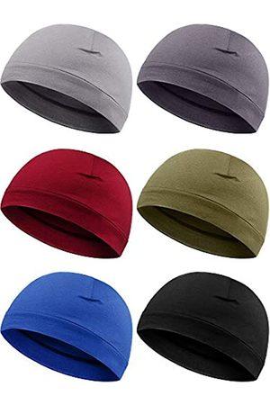 Syhood 6 Pieces Men Skull Caps Cotton Beanies Sleep Hats Multifunctional Helmet Liner Cap for Men and Women (Vintage Colors)