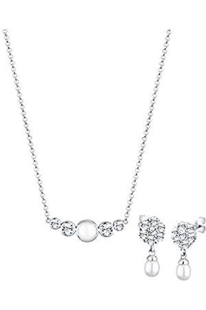 Elli Damen Sets - PREMIUM Schmuckset Damen Klassisch mit Süßwasserzuchtperle und Kristalle aus 925 Sterling