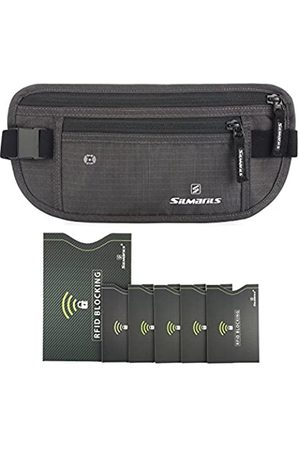 SILMARILS RFID Blocking Travel Money Belt/Hidden Waist Pack + 6 Bonus Sleeves(Shawdow Gray/L)