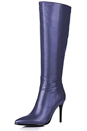 Amarantos Damenmode Slip auf seitlichem Reißverschluss Kleid Stöckelabsatz Leder Kniehohe Stiefel Matte Größe 35