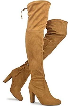 Premier Standard Damen Overknee-Stiefel Sexy Overknee Pullon Boot Trendy Low Blockabsatz Schuhe Bequeme Stiefel, (Premium Camel Su*.)