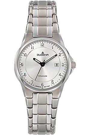 DUGENA Damen-Armbanduhr 4460870 Gent, Quarznes Zifferblatt, Titangehäuse, Mineralglas, Titanarmband, Drückerfaltschließe
