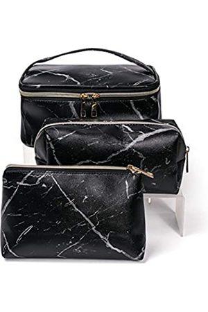 TABITORA 3 Stück Damen Kosmetiktasche Weiches Leder Kosmetik Aufbewahrungstasche mit Griff Große Kapazität