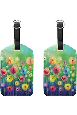 AHOMY Set of 2 Luggage Tags Spring Abstract Flowers Suitcase Labels Travel Accessories