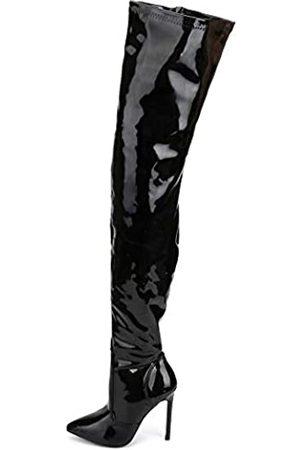 JiaLuoWei Overknee-Stiefel für Damen, hohe Absätze, Übergröße, Unisex, 12 cm hoher Absatz, ( glänzend)
