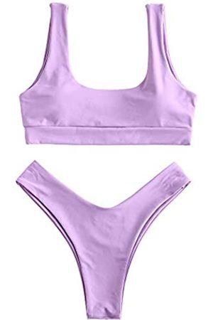 Zaful Gepolsterter Damen-Bikini, U-Ausschnitt, 2-teilig, Push-Up-Bikini, V-Ausschnitt