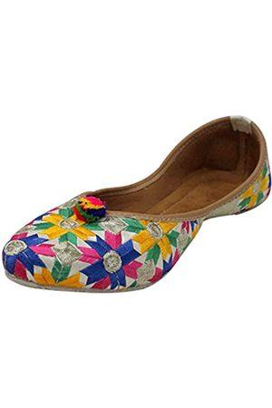 Stop N Style Punjabi Jutti für Damen Flache Flipflops Indische Schuhe Khussa Pakistani Juti, (mehrfarbig)