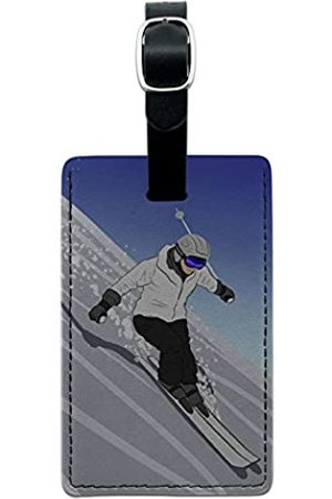 Graphics and More Graphics & More Mountain-Skier Schneeskier Leder Gepäck ID Tag Koffer (Schwarz) - Leather.Tag.RECT.07370