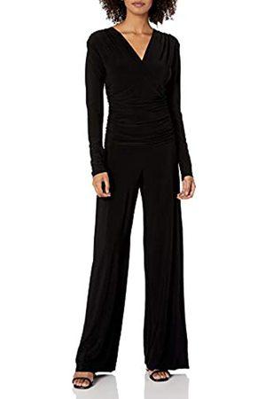 Norma Kamali Damen Jumpsuit mit V-Ausschnitt, langärmelig