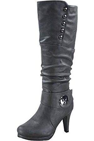 Generic FZ-Win-45 Damen Mode Runde Zehen High Heel Plateau Reißverschluss Kniehohe Stiefel