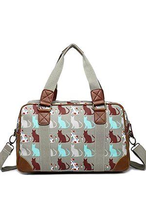 MISS LULÙ Damen Reisetasche aus Wachstuch mit Schmetterlingsmotiv, ( (Cat Grey))
