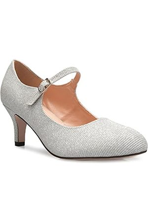 Olivia K Damen Ballerinas - Damenschuhe, klassische, niedrige mittlere Absätze Mary Jane Pumps - bezaubernde Runde Spitze Vintage Retro Schuhe, ( Glitter)