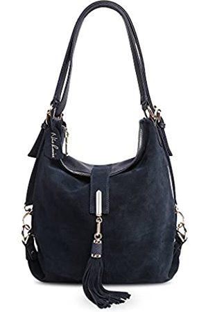 Nico Louise Damen Handtasche aus echtem Wildleder mit Quasten - - Large
