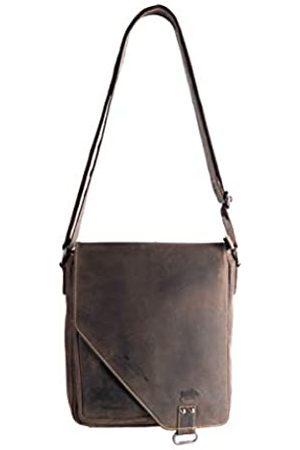 ARRIGO BELLO Crossover Umhängetasche Leder Dunkelbraun - Schultertasche Damen und Herren - Vintage Büffelleder 27x24.5x7.5 cm