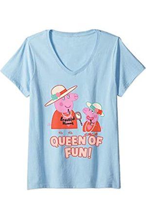 Peppa Pig Damen Mummy Pig Queen of Fun T-Shirt mit V-Ausschnitt