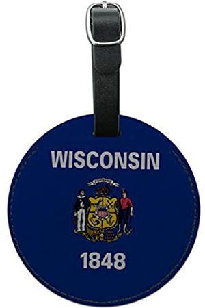 Graphics and More Graphics & More Wisconsin Bundesstaatsflagge, rund, Leder, Gepäckanhänger für Koffer