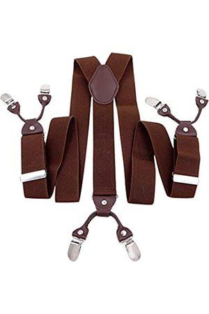 Panegy Herren Hosenträger Y-Form Stil 6 Stabile Clips 3.5cm Breite Retro Knopf Männer Hosenträger mit Leder Elastisch und Längenverstallbar