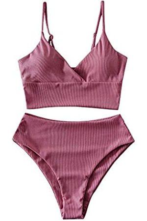 Zaful Badeanzüge für Frauen, Tierdruck, geknotet, hohe Taille, Tankini, Badeanzug