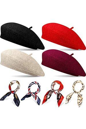 Geyoga 4 Sets Französischer Baskenmützen Hut für Damen Wolle Barett Hut mit Quadratischem Satin Hals Schal, Baskenmützen Hut 19,7 x 19
