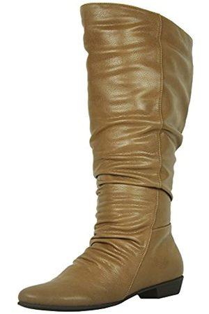 Refresh Footwear Damen Slouchy kniehohe Schlupfstiefel mit Blockabsatz, Schwarz (hautfarben)