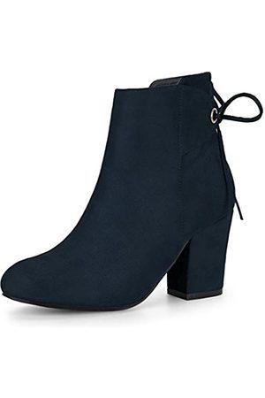 Allegra K Damen Round Toe Lace Up Blockabsatz Zipper Ankle Boots Stiefel 38.5