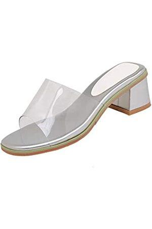 Joojaky Damen Crystal Jelly Schuhe Chunky Blockabsatz Sandalen Mode Kleid Hausschuhe