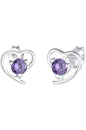 Elli Ohrringe Damen Herz Motiv Elegant mit Zirkonia Kristallen aus 925 Sterling Silber