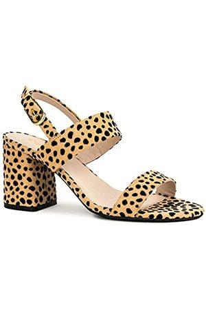 Qupid Capsule Heels für Damen – Knöchelriemen, offene Zehen, klobiger Blockabsatz, (Hellbraun/ Kunstleopard)