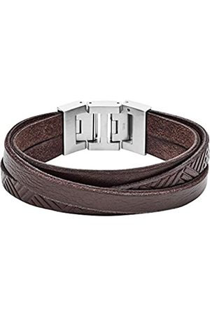 Fossil Herren Armbänder - Herren Armband Textured Brown Leather Wrist Wrap JF02999040