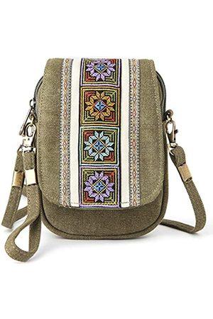 Mazexy Handtasche mit Stickerei, Mini-Umhängetasche, Nylon, Grn