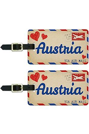 Graphics and More Reisetaschen - Graphics & More Air Mail Postkarte Love for Austria Gepäck Koffer Handgepäck ID-Tags (Weiß) - Luggage.Tags.50326