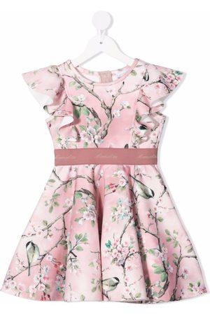 Monnalisa Gerüschtes Kleid mit Baum-Print