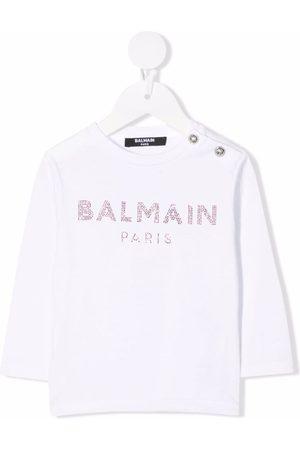 Balmain Langarmshirt mit Logo-Applikation