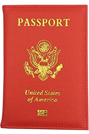 Pakala66 PU Leather Passport Cover with Gold USA Logo Printed for Travel (AD-GD-Red)