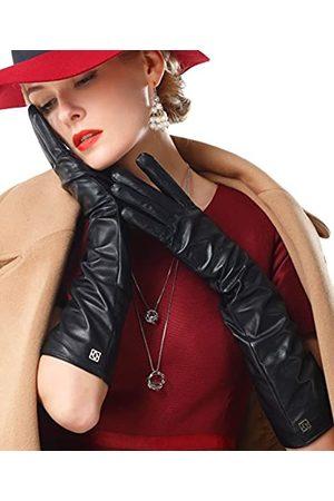 NappaNovum Damen Nappaleder Handschuhe Lammfell Lange Handschuhe Winter Warme Handschuhe - Braun - Mittel