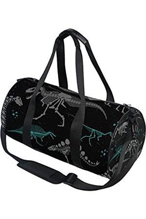 AHOMY Dinosaurier Seesack Schwarz Weiß Skelett Sport Gym Taschen für Damen und Herren