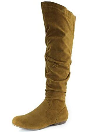 DailyShoes DbDk Quintus-1 Damen Overknee Flat Bottom Stiefel, (Cognac (Oberschenkelhoch mit Reißverschluss))
