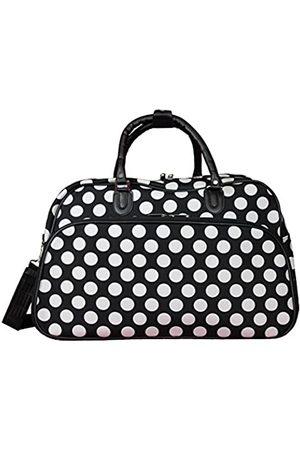 """World Traveler Damen 21"""" Carry-on Shoulder Tote Duffel Bag-Black White Dot Sportsack"""