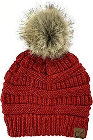 Plum Feathers Herren Hüte - Beanie-Mütze mit Bommel aus Webpelz, weich, dehnbar