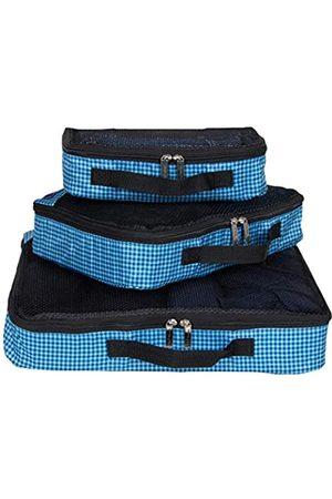 Ben Sherman Reisetaschen - 3-teiliges (klein, mittel, groß) leichtes, haltbares bedrucktes Organizer-Set, Reise-Set für Gepäck, marineblau, kariert