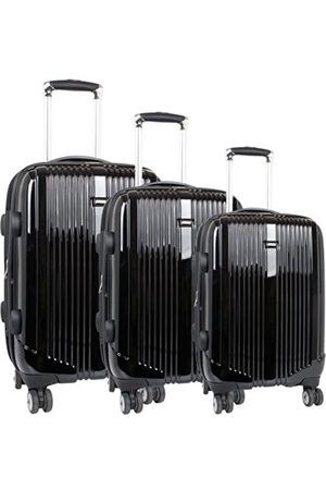 J WORLD NEW YORK Concord Hardside 3 Piece Spinner Luggage Set, Black