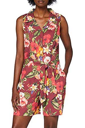 Queen Kerosin Damen Vintage Mambo Jumpsuit   Tropischer All-Over Print   Overall   Bindegurt Und Eingrifftaschen