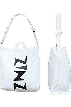 ZINZ Hobo Bag Canvas Tote Schultertasche wiederverwendbare Einkaufstasche für Shopping, Reisen, Pendeln und Freizeit, große Kapazität, Weiá