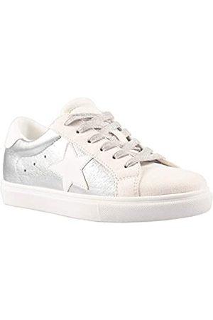 PARTY Damen Fashion Star Sneaker Schnürschuh Low Top Bequem Gepolsterte Wanderschuhe, (Silver Met)