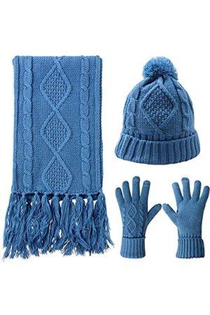 AGOOL Damen Schals - Schal Mütze Handschuhe Set Frauen Warm Knit Winter Geschenk Pom Beanie Touchscreen 3 Stück - - Einheitsgröße
